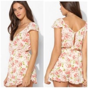 Pins & Needles Pink Cream Floral Ruffle Romper XS